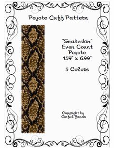 Snakeskint is a PDF peyote stitch pattern using Miyuki 11/0 Delicas.  The PDF pattern includes the following:  1. The pattern design 2. Large
