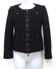 Moschino Cheap & Chic Collarless Virgin Wool Zipper Crop Jacket US 4 IT 38 #MoschinoCheapandChic #BasicJacket #Casual
