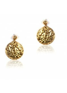 Gold stud with textured disc