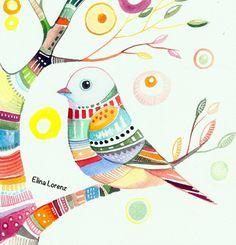 Summer Time /Bird Art/ Colorful Watercolor Painting / Folk art / Minimalist/ Wall Art /Room Decor / Nursery Decor
