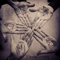 triangular palm tattoos (incl. 1 deathly hallows) - Jodi Lyford