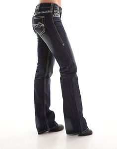 Cowgirl Tuff Womens Blue Cotton Blend Jeans DFMI West Silver