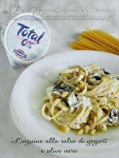 Linguine alla salsa di yogurt greco e olive nere