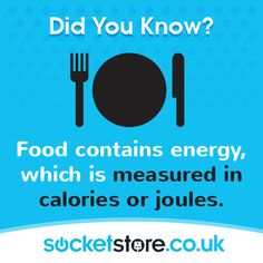 Food contains #energy, which is measured in #calories or joules. #power. #lighting #sockets #electrical #shop #Cardiff #switches