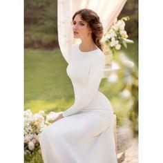 Vintage Long Sleeves Round Collar Backless Wedding Dress