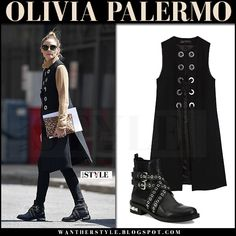 Olivia Palermo in black sleeveless coat, camel sweater and studded ankle boots