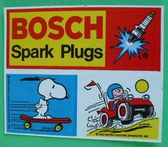 Vintage Peanuts Bosch Spark Plugs Sticker Snoopy Charlie Brown