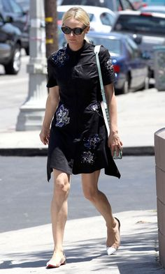 Diane Kruger in floral shirt dress and Christian Louboutin flats out in LA!