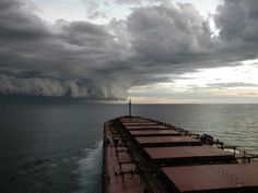 Hurricane as seen from freighter at sea