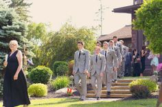 Real Wedding: Alex & Cassandra, Men look dapper in gray suits and silk ties.