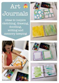 Great ideas for art journaling with children -: summer art journal / scrapbook project