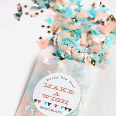Make your own DIY New Year's Confetti Favors and mail to your friends and family or give as gifts during your New Year's party!