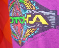 1991 vintage t-shirt GOTCHA neon surf skate graphic tee shirt 90s Medium purple by skippyhaha