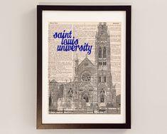 Saint Louis University Cathedral Dictionary Art Print - St. Louis Art - Print on Dictionary Paper - Saint Francis Xavier, SLU Billikens