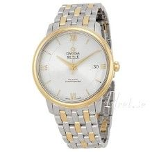 Omega DeVille Prestige Silver Dial Steel and Yellow Gold Men's Watch 42420372002001 - De Ville - Omega - Watches - Jomashop Stainless Steel Bracelet, Stainless Steel Case, Omega Constellation, The Prestige, Constellations, Gold Watch, Omega Watch, Bracelet Watch, Watches For Men