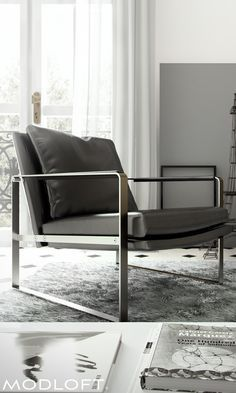 Decor Inspiration | The rich materials and modern lines of the Modloft Charles lounge chair bring this time classic piece to life.