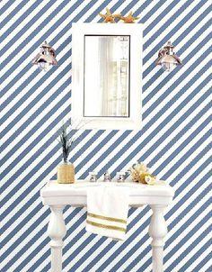 Carta da parati a righe oblique blu e bianche Sink, Vanity, Home Decor, Sink Tops, Dressing Tables, Vessel Sink, Powder Room, Decoration Home, Room Decor