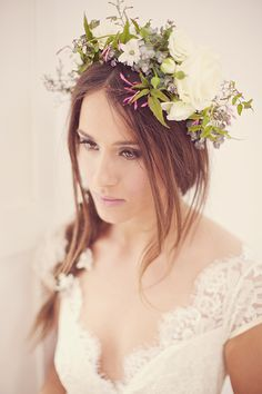 floral crown, photo by Sarah Gawler http://ruffledblog.com/kent-england-barn-wedding-ideas #weddinghair #flowercrown