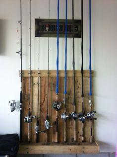 My pallet fishing rod holder
