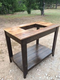 Complete your bathroom with this hand-crafted vanity featuring a reclaimed wood top! This particular vanity is It has a western Bathroom Vanity Makeover, Small Bathroom Vanities, Bathroom Vanity Cabinets, Simple Bathroom, Lake Bathroom, Bathrooms, Bathroom Ideas, Potting Bench With Sink, Outdoor Sinks