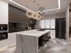 Kitchen Room Design, Kitchen Cabinet Design, Modern Kitchen Design, Home Decor Kitchen, Interior Design Kitchen, Kitchen Sitting Areas, Open Plan Kitchen Dining Living, Modern Kitchen Interiors, Modern Kitchen Cabinets