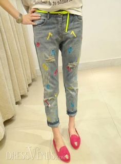 Jeans, Pants , $20.99, Classy Fancy Korean Cropped Jeans Trousers