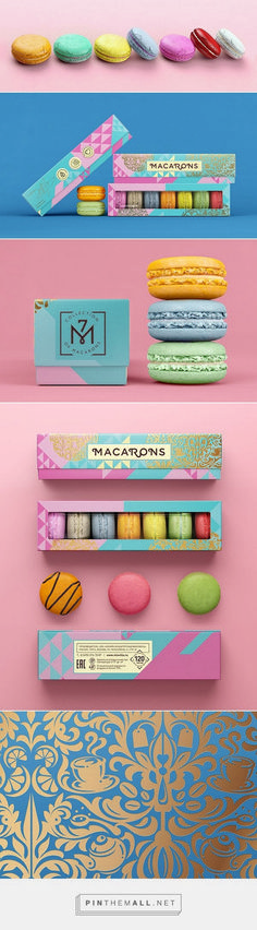 Sweets packaging for macaroons. Colorful and bright this package design is eye catchy and energetic. The use of gold foil in the box label design is awesome. Branding And Packaging, Food Packaging Design, Pretty Packaging, Clever Packaging, Wine Packaging, Cosmetic Packaging, Identity Branding, Packaging Ideas, Visual Identity