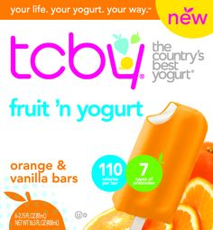TCBY pints, quarts, novelties available at WalMart now