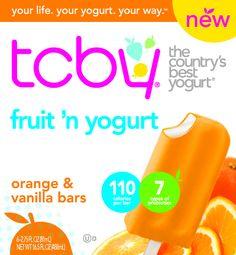TCBY pints, quarts, novelties available at WalMart now