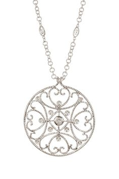 Cignature 18K White Gold Diamond Filigree Circle Pendant Necklace