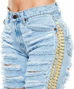 Shreds N Cones Denim  http://www.shopcoalnterry.com/collections/custom-studded-shorts/products/shreds-n-cones-denim