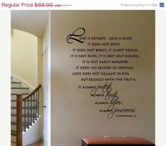 20% Off ALL Decals Wall Decal Scripture Love is Patient Love is Kind     Corinthians   Vinyl Wall Decal  LARGE. $52.80, via Etsy.
