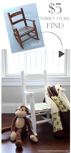 Looking for a decor change? These simple thrift store projects are fun and easy DIY makeover ideas to add a hint of whimsy and charm to your farmhouse! Diy Furniture Chair, Kids Room Furniture, Diy Pallet Furniture, Diy Furniture Projects, Furniture Makeover, Refinished Furniture, Furniture Market, Furniture Refinishing, Painting Furniture