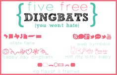 5 Free Dingbats You Won't Hate - I Love Free Fonts ~~ {5 free dingbat fonts w/ links}