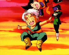 Goten and Trunks playing around