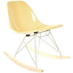 Herman Miller Ochre Fiberglass Rocking Chair