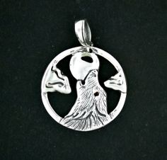 Howling Wolf Pendant in Sterling Silver by LeDragonArgente on Etsy, $70.00