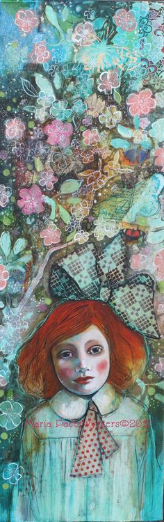 Inspired by then blend of portraiture and mixed media in this painting by Maria Pace Wynters.