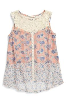 Ten Sixty Sherman Floral Print Lace & Crochet Sheer Tank available at #Nordstrom