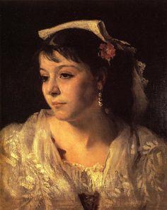 John Singer Sargent (American, 1856-1925)    Head of an Italian Woman