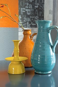 Colors and shapes.love the crackle on the turquoise jug. Stuff Co, Student Room, Turquoise Kitchen, Moraira, Orange And Turquoise, Yellow, Blue, Glass Ceramic, Color Of Life