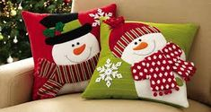 Set of 2 Holiday Snowman Accent Pillow Covers(Cojines Diy Ideas) Christmas Sewing, Felt Christmas, Christmas Stockings, Christmas Holidays, Christmas Projects, Christmas Crafts, Christmas Decorations, Christmas Ornaments, Holiday Decor