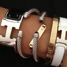 hermes bracelet and cartier love bracelet, david yurman bracelets Jewelry Box, Jewelry Watches, Jewelry Accessories, Fashion Accessories, Fashion Jewelry, Jewlery, Bullet Jewelry, Jewelry Ideas, Jewelry Necklaces