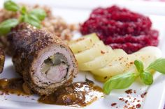 Polish beef roulade or zrazy is a recipe made with economical cuts of beef that has been pounded thin and rolled with a variety of fillings.