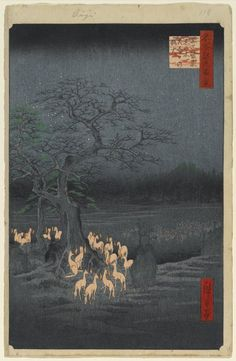 Utagawa Hiroshige (Ando) (Japanese, 1797-1858). New Year's Eve Foxfires at the Changing Tree, Oji, No. 118 from One Hundred Famous Views of Edo, 9th month of 1857. Woodblock print, sheet:  14 3/16 x 9 1/4 in.  (36.0 x 23.5 cm);. Brooklyn Museum, Gift of Anna Ferris, 30.1478.118 (Photo: Brooklyn Museum, 30.1478.118_PS1.jpg)