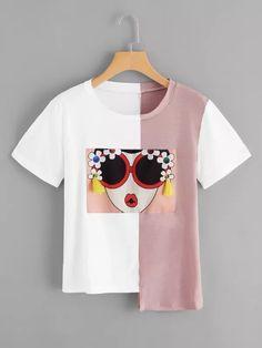 Camiseta bajo asimétrico con diseño de fleco-Spanish SheIn(Sheinside)