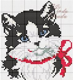 charming black and white cat cross stitch. red bow could have a bell sewn on to make it more three dimensional or give it green eyes to look more holiday Cat Cross Stitches, Cross Stitch Charts, Cross Stitch Designs, Cross Stitching, Cross Stitch Embroidery, Cross Stitch Patterns, Loom Patterns, Embroidery Patterns, Hand Embroidery
