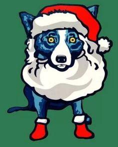 Santa Blue dog christmas art