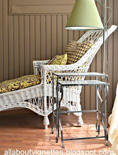 antique wicker chaise, nesting tables with attached lamp