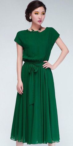 Forest Green Chiffon Midi Dress